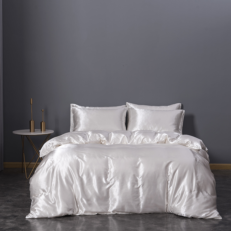 Hotel Quality Solid White Duvet Cover Set Silk Like Satin Bedding
