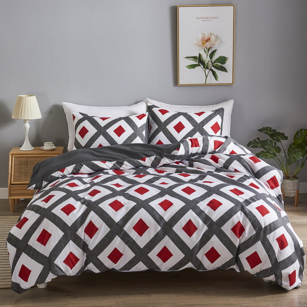 wholesale customize color printed polyester bedding set